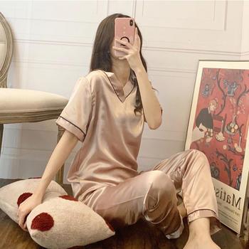 纪妍薇 冰丝女睡衣套装V领丝滑短袖长裤空调家居服5色