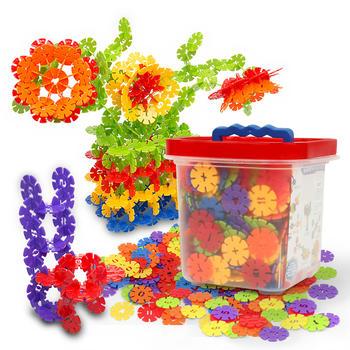益智拼插玩具彩虹色数字积木/大颗粒积木插块/雪花片