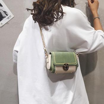 雅诗罗2019韩版秋季新款撞色女包时尚磨砂链条包