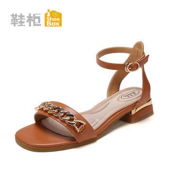 SHOEBOX/鞋柜低跟凉鞋方跟平底女鞋子1718303019