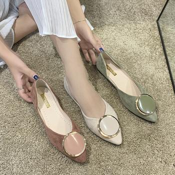 蝶恋霏韩版优雅尖头舒适平底金属扣时尚单鞋