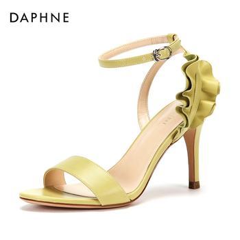 Daphne/达芙妮高跟纯色时尚荷叶边凉鞋女1018303054