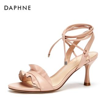 Daphne/达芙妮系带荷叶边公主细跟凉鞋女1018303059