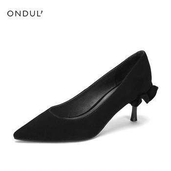 Daphne/达芙妮时尚绒面羊皮尖头荷叶边单鞋1018404835