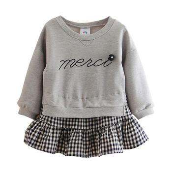 贝壳元素春秋女童假两件卫衣春装女童儿童裙衣wt8571