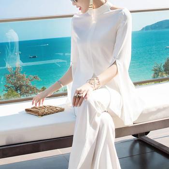 欧洲站套装裤女士气质职业白色喇叭裤时尚两件套裤装