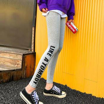 外穿女士棉打底裤春秋侧边字母印花紧身小脚长裤子