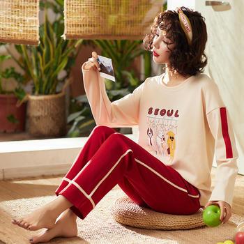 韩版 长袖少女睡衣套装棉质舒适家居服两件套可外穿