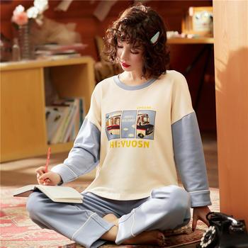 韩版 棉质舒适少女士睡衣两件套长袖家居服秋冬新品