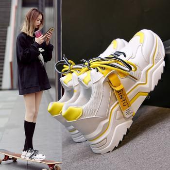 Tatyana新款拼色增高厚底系带休闲运动网鞋女