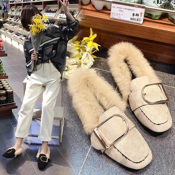 蝶恋霏秋冬新款时尚百搭毛毛鞋平底方头单鞋