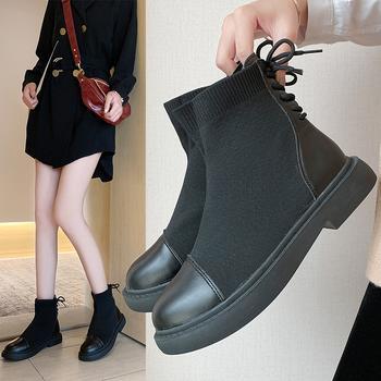 蝶恋霏冬季新款潮流时尚拼接弹力布百搭平底短靴