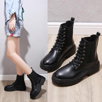 蝶恋霏冬季新款百搭经典厚底时尚中筒马丁靴