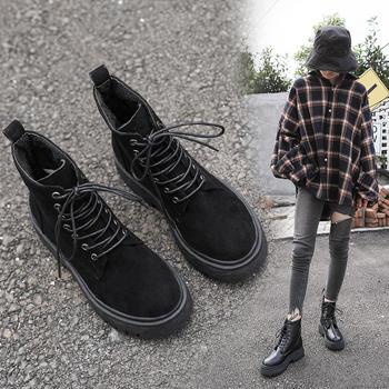 蝶恋霏冬季新款加绒厚底防滑时尚百搭马丁靴