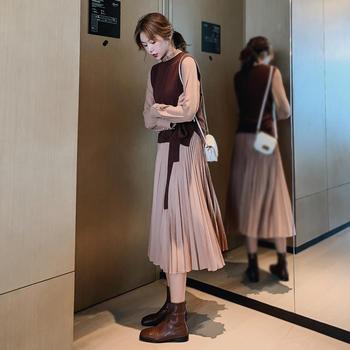 小贤 新款套装裙两件套女长袖连衣裙显瘦气质百褶裙