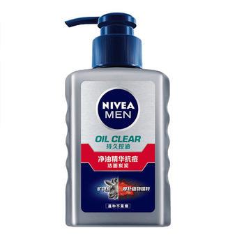 Nivea/妮维雅男士净油精华抗痘洁面炭泥温和控油洁面150ml