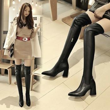 长靴子女显瘦显腿长高跟过膝靴女骑士靴女侧拉长筒靴