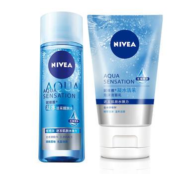 妮维雅凝水活采泡沫洁面乳醒肤水补水保湿收缩毛孔