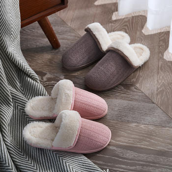 远港翻毛棉拖鞋男女秋冬季居家情侣室内软底兔毛保暖