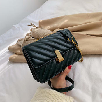 INME2019新款韩版时尚链条绣线单肩包百搭斜挎小方包女