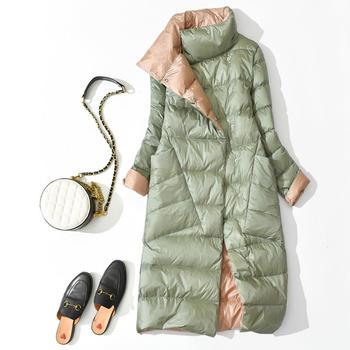 白鸭绒轻薄羽绒服女韩版两面穿中长款过膝宽松外套