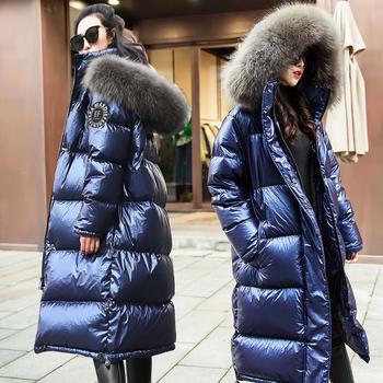 亮面大毛领羽绒服女中长款加厚宽松过膝韩版冬外套