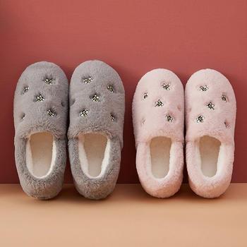 2019款包跟棉拖鞋小蜜蜂刺绣居家保暖毛绒棉鞋月子鞋