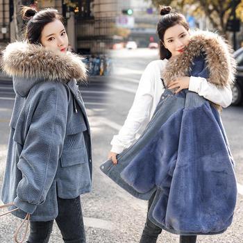 冬装灯芯绒羽绒棉衣大毛领加绒保暖派克棉服潮