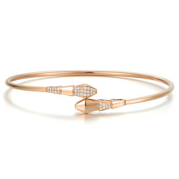 今上珠宝   18K玫瑰金钻石手镯女开口 蛇形手链