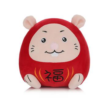 柏文熊鼠年吉祥物公仔抱枕生肖鼠毛绒玩具布娃娃玩偶年会礼品红色