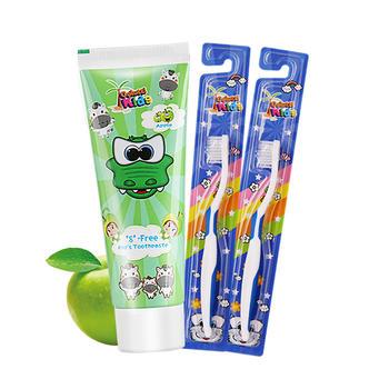 韩国进口德露宝儿童牙膏苹果味60g+送2支儿童牙刷