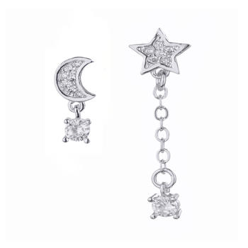 S925银闪锆月亮星星不对称韩版气质耳环