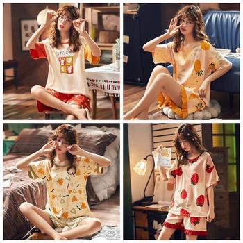 【限时69元2套】纯棉短袖韩版女士家居服印花睡裙睡衣套装多款可选