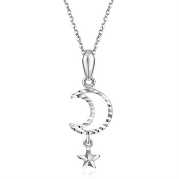 阿梵尼  PT950铂金吊坠星星月亮 白金吊坠女款 不含铂金项链