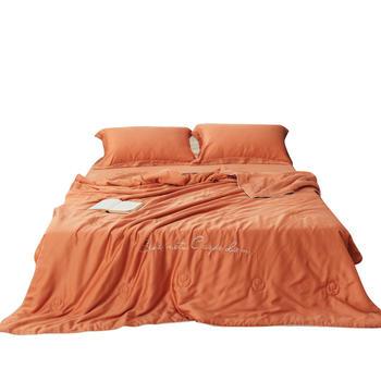 恒源祥80支天丝空调被夏凉被四件套纯色刺绣莱赛尔冰丝夏被可机洗