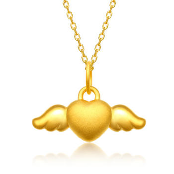 阿梵尼   足金黄金心形吊坠女士 天使之翼
