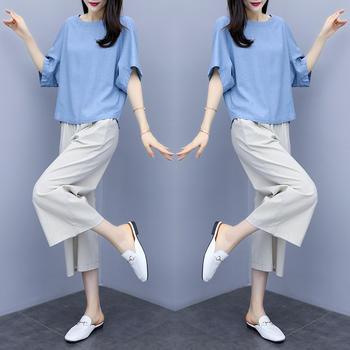 大码时尚棉麻套装女2020春夏新款宽松女装阔腿裙裤亚麻休闲两件套