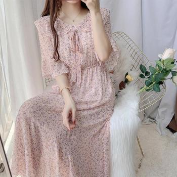 淑女碎花连衣裙女夏收腰显瘦气质仙女裙文艺雪纺长裙娃娃领公主裙