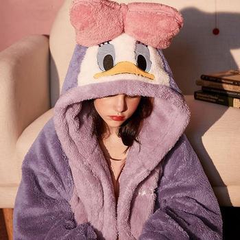 柳咖 睡衣女秋冬季珊瑚绒睡袍睡衣加厚学生可爱长款加绒韩版ins