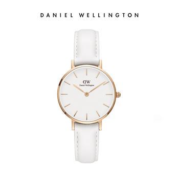 DW女士28mm白皮带白盘金圈石英腕表